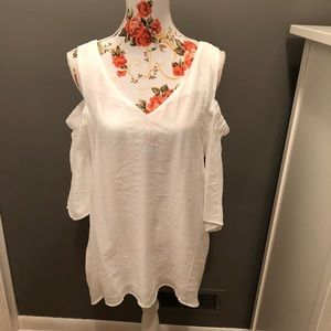 White cold shoulder top